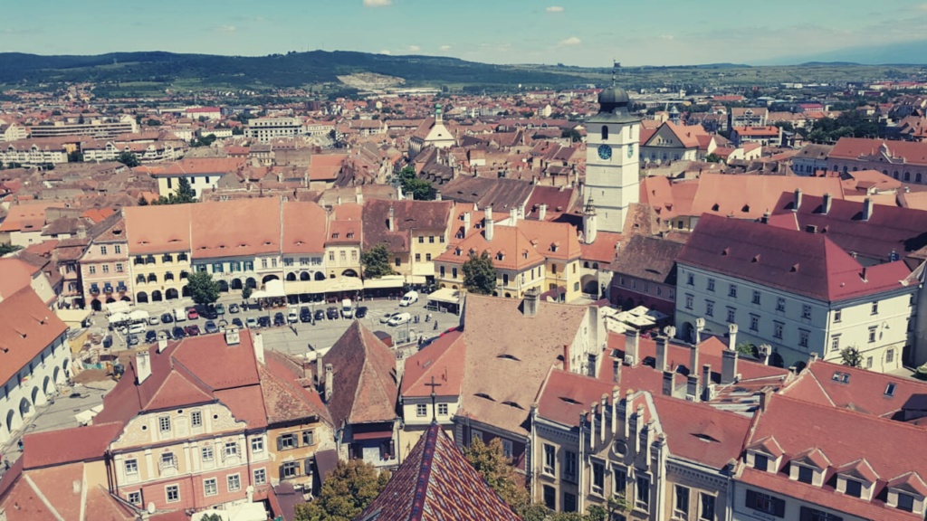 sibiu, romania, small square, travel, trannsylvania