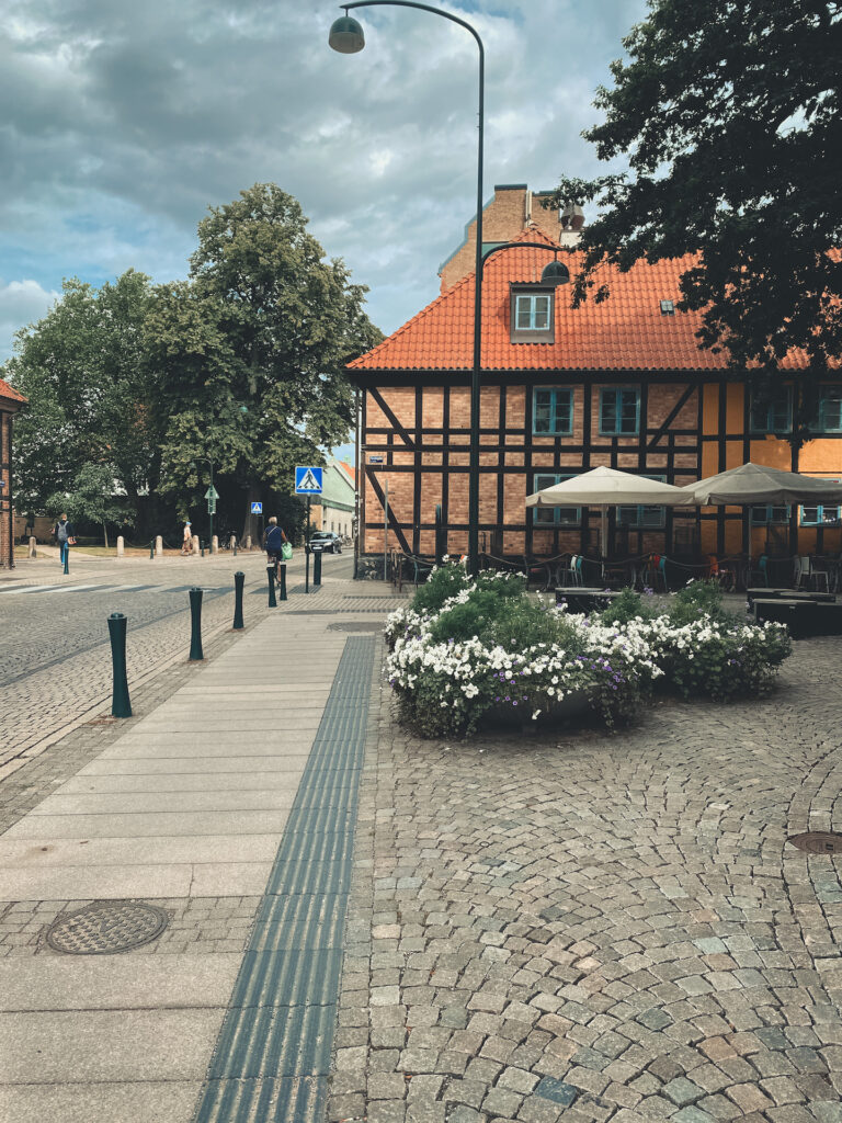Lund, Sweden, street, old town, old city, flowers, houses